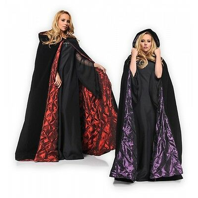 Black Cloak Hooded Cape Adult 63 inches Long