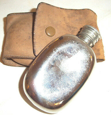 Antique / Vintage Miniature silver Plated Hip Flask in Leather Case
