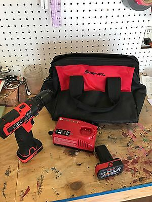"""Snap On CDR761AO 3/8"""" 14.4v Li-ion Drill / Driver Kit w/ 2 Batteries & Charger"""