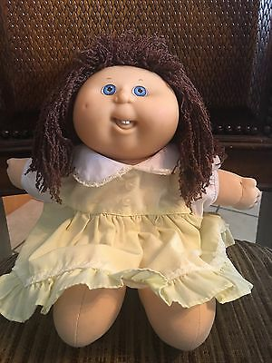Vintage Cabbage Patch Preschool Kids Doll Blue Eyes Brown Crimped Hair Rare 1991