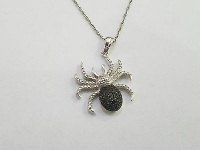 925 Sterling Black Stone White Clear Crystal Spider Pendant Necklace - 6455