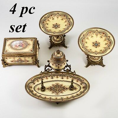 RARE 4 pc Set, Antique French Kiln-fired Enamel Box, Casket, Inkwell, Sevres