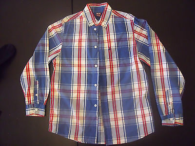 Boys  Red Blue White Checked Shirt ZY 9-10 Years VGC