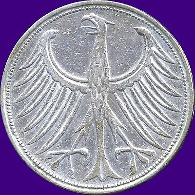 1951 'G' Germany 5 Mark Silver Coin ( 11.2 Grams .625 Silver )
