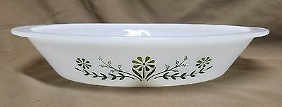 """VTG Glasbake Divided Casserole Dish Green Daisy 12 x 9 1/2 x 2"""" 2 sections OVAL"""