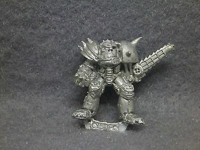 Blood Bowl Orc Starplayer Cyborg with Chainsaw metal miniature 2nd ed 1988 OOP