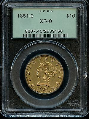 1851-O $10 Liberty Eagle Gold Pcgs Xf40  New Orleans Mint Old Green Holder!!!!