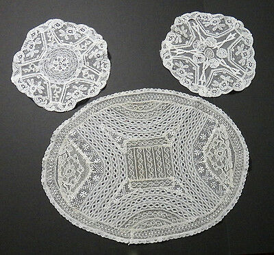 Normandy Lace Doilies - Antique - Lot of 3 - Mixed French Laces Beautiful!
