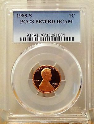 1988-S  Lincoln Memorial Cent  Pcgs Pr70Rd Dcam  (No Spots, Toning, Or Hazing)