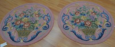 3x3 Pair Round European Aubusson Style Vintage Chinese Oriental Hand Tufted Rugs