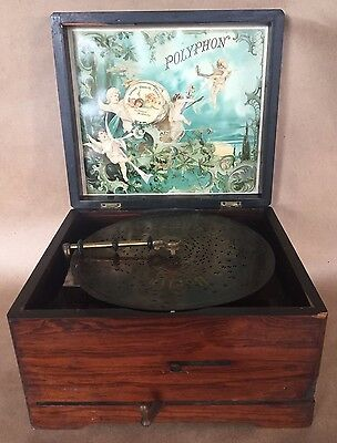 Antique POLYPHON Leipzig Germany 19th C. w/17 disks