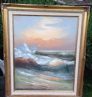 Old Oil Painting Seascape Signed A Dakin In Antique Style Gilt Frame