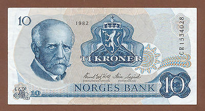Norway, 10 Kroner 1982 (CR 1534028) P-36c VF