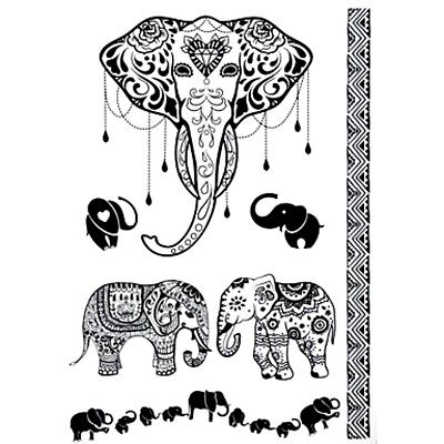 21x15cm-Sheet-High-Quality-Elephant-Fake-Tatto-Party-Waterproof-Temporary-Art