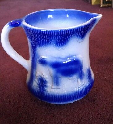 Antique Stoneware Salt Glaze Blue & White Table Pitcher w/ Cow and Flowers