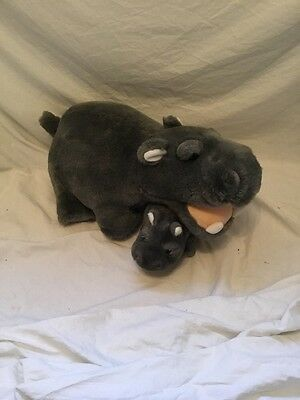 """Large Hippo Soft Toy 16"""" With Baby Hippo"""