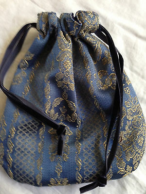 Blue & Gold Lined Pouch Bag Renaissance Medieval Pagan Tarot Cards Crystals