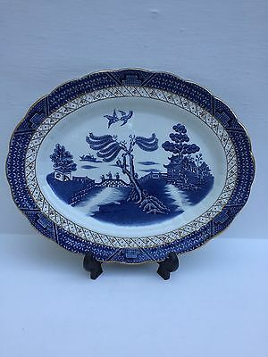 """Vintage Booths Real Old Willow Made In England Gilt Edged Platter Dish 12""""x9.5"""""""
