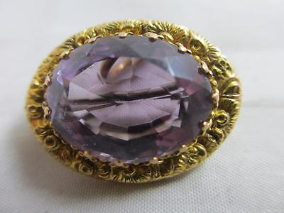 Amethyst 9k 9ct gold lace pin brooch antique Edwardian 1908 English. tbj02386