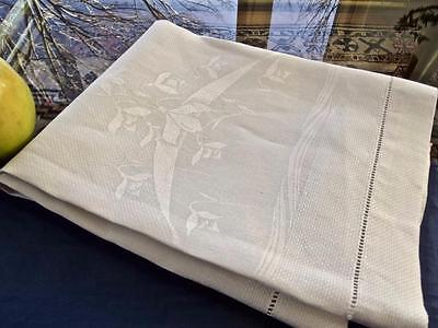 Antique Irish White Huck Linen Bath Spa Show Towel Damask Snowdrop Flowers 20x35