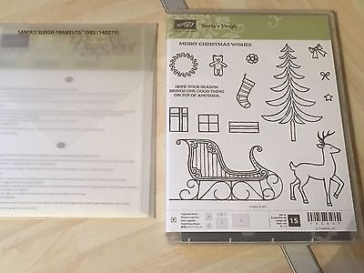 Sizzix stampin up Santa's Sleigh Stamp Set & Matching Framelits Die Retired
