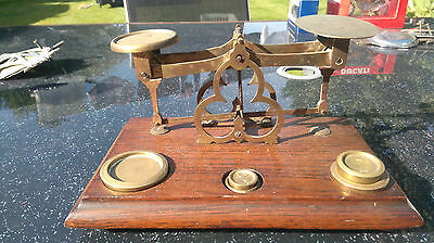 Brass Scales On Wood Base (Small)