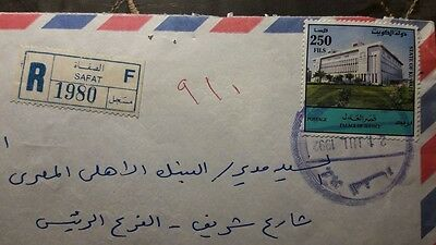 Kuwait Old Reg. Cover With Safat Cds & Label Post
