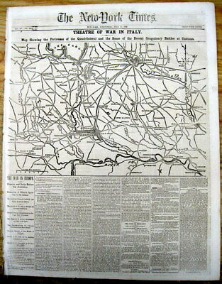 1866 NY Tmes newspaper w map of ITALY during THIRD ITALIAN WAR of INDEPENDENCE