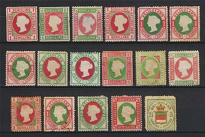 Lot of Heligoland 17 old stamps