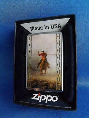 Zippo Lighter  2012 Cowboy On Horse Roping Gift Box New Ranch Rodeo Collector