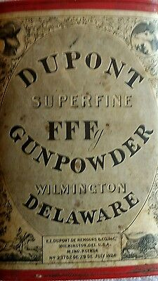 1924 E I DU PONT SUPERFINE FFFFg GUNPOWDER CAN POWDER TIN NICE MINTY LABEL