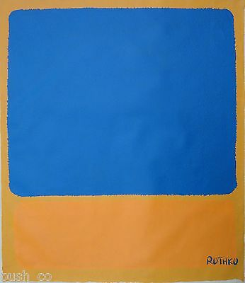 Vintage Abstract Canvas Signed, Rothko,  Modern Old 20th Century, Not Framed