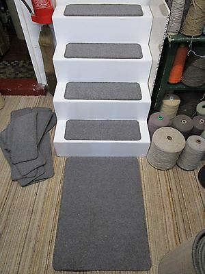 14 Victoria carpet dark grey 60cm x 21cm stair pads treads + mat 80/20 wool