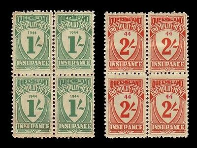 QUEENSLAND • 1944 • 2 x blocks of 4, 1/- & 2/- Unemployment Insurance • MNH
