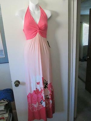 NEW YORK & COMPANY Women's Pink-White-Black Floral Print Halter Maxi Dress~ XS