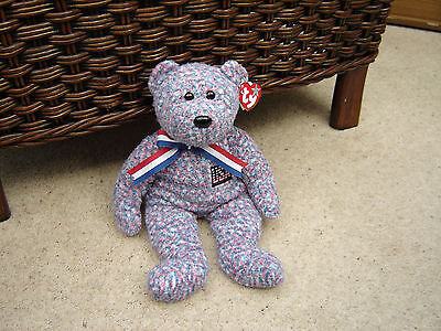 TY Beanie BUDDY Bear USA - Red, White and Blue Patriotic American Soft Teddy New