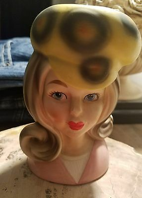 Super RARE 60's Teenager head vase RARE! With hat and paper label
