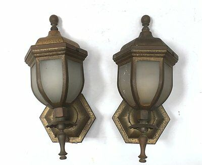 1930's PAIR (2) BRASS & CURVED FROSTED GLASS OUTDOOR SCONCES