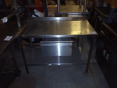 commercial kitchen stainless steel prep table upstand + drawer