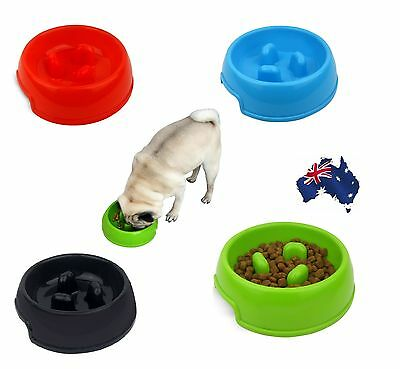 Anti No Gulp Dog Bowl Pet Slow Feeder Dish Puppy Cat Feed Plate 4 Colour