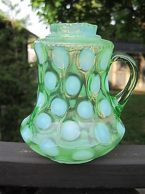 Antique Green Coin Spot Opalescent Syrup Pitcher