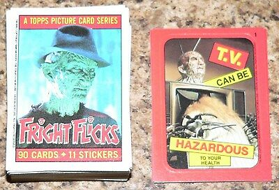 Fright Flicks by Topps in 1988. Complete 90 card & 11 Sticker set.