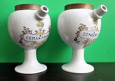 Pair Delft beautiful vintage porcelain apothecary jars between