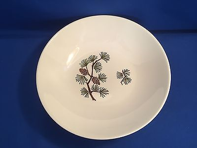 "1950s SERVING BOWL 9"" MARCREST Stetson Brown PINECONES Green Pine Needles USA"