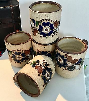 Vintage Tonala Pottery Mexican Mugs Set Of 5