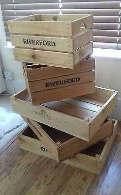 5 x Wooden crates crate storage shabby chic rustic wedding