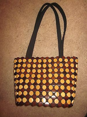 VINTAGE Wood Beaded Wooden Bead Purse Bag Retro Hipster