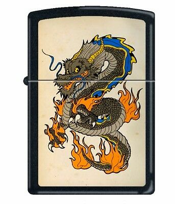 Zippo Lighter Chinese Oriental Colorful Flame Dragon Black Matte 218