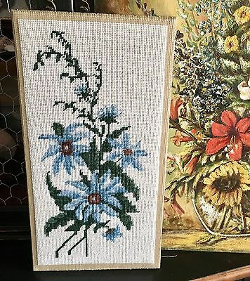 Vintage Blue Daisies Needlepoint / Finished Cross Stitch Needlepoint