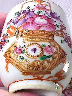Chinese Export porcelain cup & saucer Famille Rose basket motif antique 19th C.